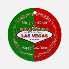 Las Vegas red & Green Holiday Ornament (Rnd)