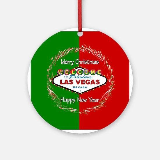 Las Vegas red & Green Holiday Ornament (Rnd)