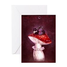 Mushroom Fairy Cat Greeting Cards