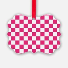 PINK AND WHITE Checkered Pattern Ornament