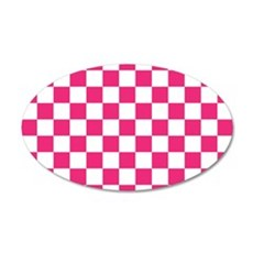 PINK AND WHITE Checkered Pattern Wall Decal