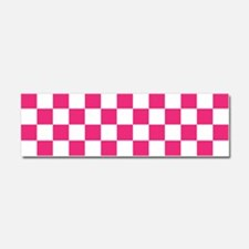 PINK AND WHITE Checkered Pattern Car Magnet 10 x 3