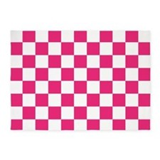 PINK AND WHITE Checkered Pattern 5'x7'Area Rug