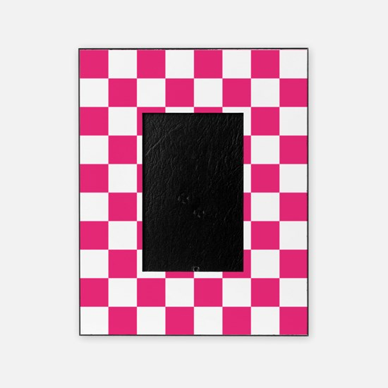 PINK AND WHITE Checkered Pattern Picture Frame