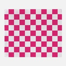 PINK AND WHITE Checkered Pattern Throw Blanket