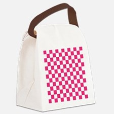PINK AND WHITE Checkered Pattern Canvas Lunch Bag
