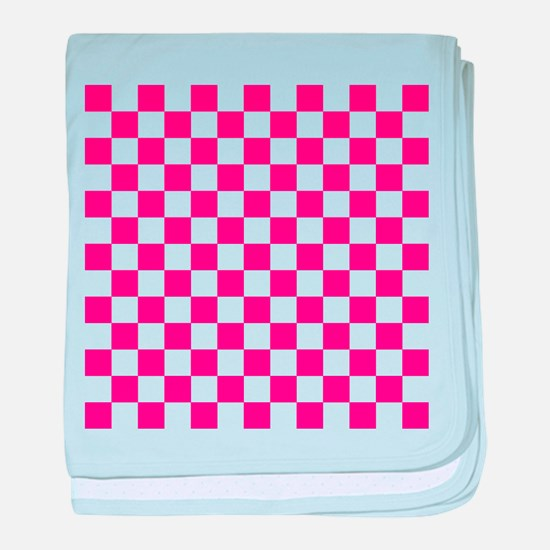 PINK AND WHITE Checkered Pattern baby blanket