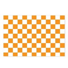 ORANGE AND WHITE Checkered Pattern Postcards (Pack