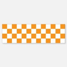 ORANGE AND WHITE Checkered Pattern Bumper Bumper Bumper Sticker