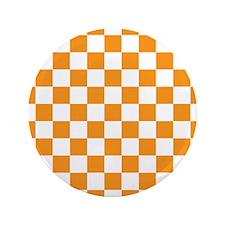 "ORANGE AND WHITE Checkered Pattern 3.5"" Button (10"
