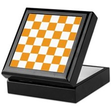 ORANGE AND WHITE Checkered Pattern Keepsake Box