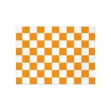 ORANGE AND WHITE Checkered Pattern 5'x7'Area Rug