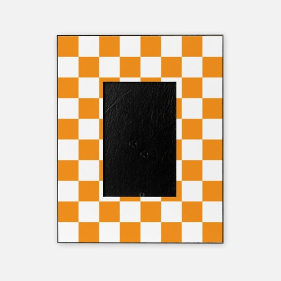 ORANGE AND WHITE Checkered Pattern Picture Frame