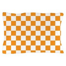 ORANGE AND WHITE Checkered Pattern Pillow Case