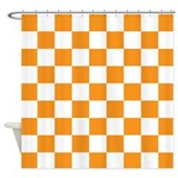 Checkerboard orange and white Shower Curtains