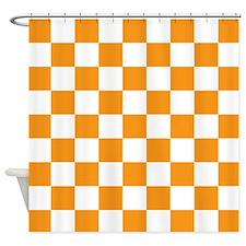 ORANGE AND WHITE Checkered Pattern Shower Curtain