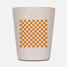ORANGE AND WHITE Checkered Pattern Shot Glass