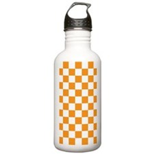 ORANGE AND WHITE Checkered Pattern Water Bottle