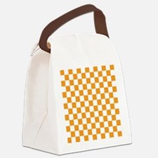 ORANGE AND WHITE Checkered Pattern Canvas Lunch Ba
