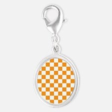 ORANGE AND WHITE Checkered Pattern Charms