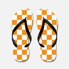 ORANGE AND WHITE Checkered Pattern Flip Flops