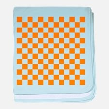 ORANGE AND WHITE Checkered Pattern baby blanket