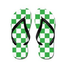 GREEN AND WHITE Checkered Pattern Flip Flops