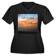 LET GO AND L Women's Plus Size V-Neck Dark T-Shirt