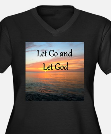LET GO AND L Women's Plus Size V-Neck Dark T-Shirt