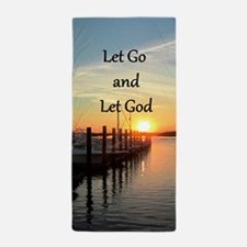 LET GO AND LET GOD Beach Towel