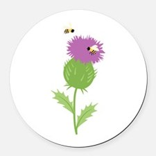 Thistle Bees Round Car Magnet