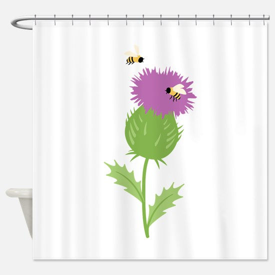 Thistle Bees Shower Curtain