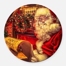 Santa Claus 4 Round Car Magnet