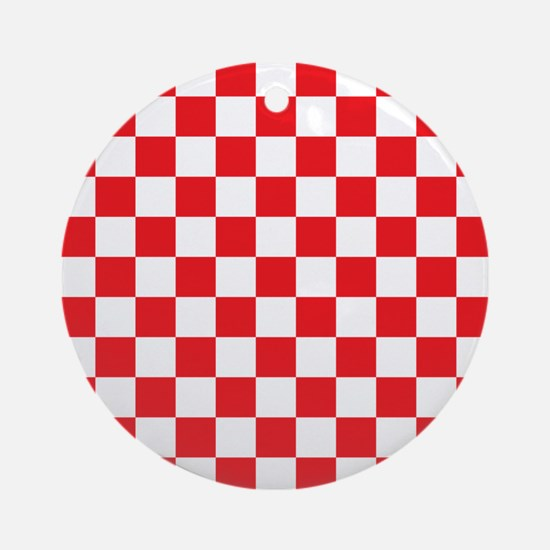 RED AND WHITE Checkered Pattern Ornament (Round)