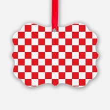 RED AND WHITE Checkered Pattern Ornament