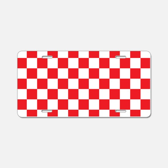 RED AND WHITE Checkered Pattern Aluminum License P