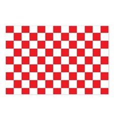 RED AND WHITE Checkered Pattern Postcards (Package