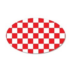 RED AND WHITE Checkered Pattern Wall Decal