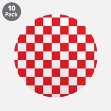 """RED AND WHITE Checkered Pattern 3.5"""" Button (10 pa"""