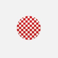 RED AND WHITE Checkered Pattern Mini Button