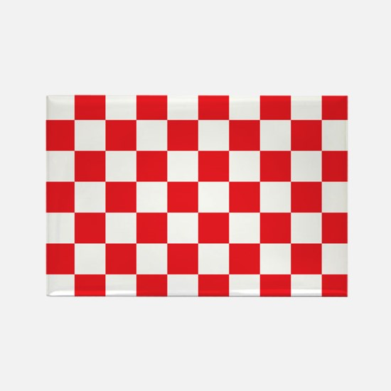 RED AND WHITE Checkered Pattern Magnets