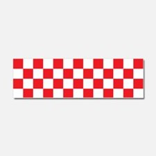 RED AND WHITE Checkered Pattern Car Magnet 10 x 3