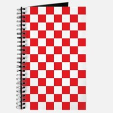 RED AND WHITE Checkered Pattern Journal
