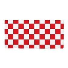 RED AND WHITE Checkered Pattern Beach Towel