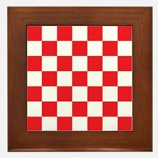 RED AND WHITE Checkered Pattern Framed Tile