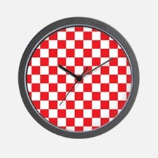 RED AND WHITE Checkered Pattern Wall Clock