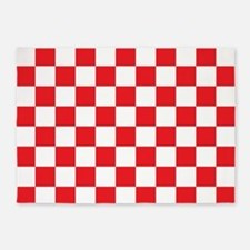 RED AND WHITE Checkered Pattern 5'x7'Area Rug