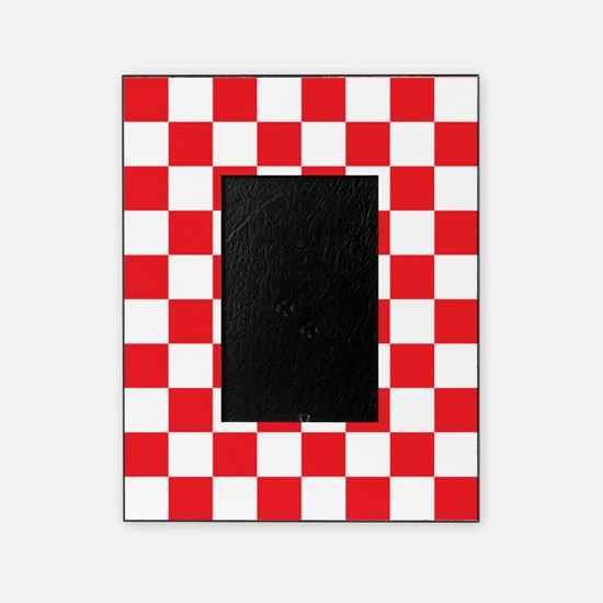 RED AND WHITE Checkered Pattern Picture Frame
