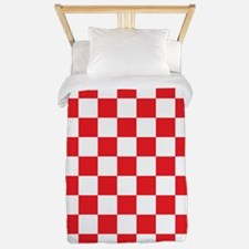 RED AND WHITE Checkered Pattern Twin Duvet
