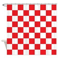RED AND WHITE Checkered Pattern Shower Curtain